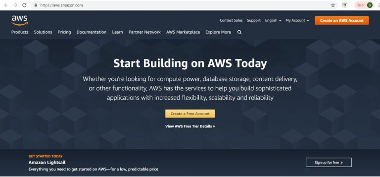 Create AWS Cloud Account Step 1