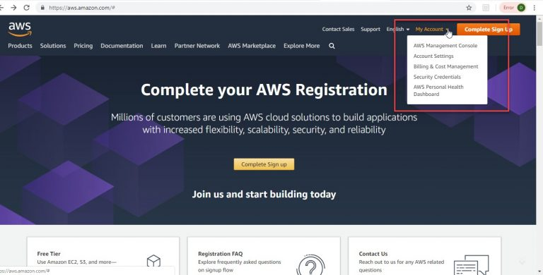 Create AWS Cloud Account Step 2