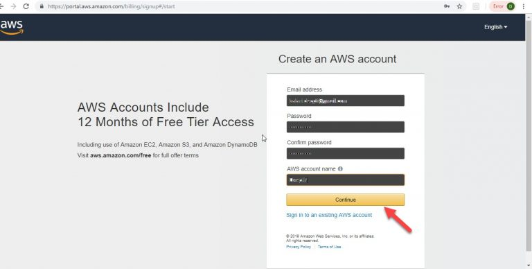 Create AWS Cloud Account Step 4