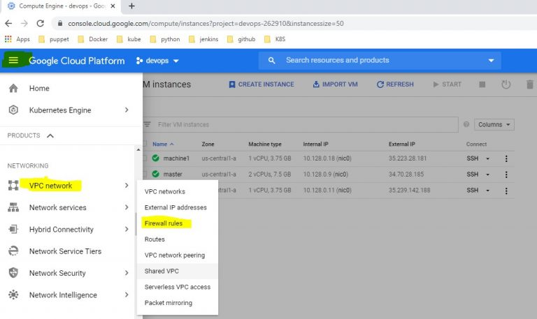 GCP Setup VPC Network to Firewall Rules