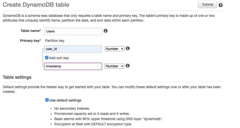 Create DynamoDB Table