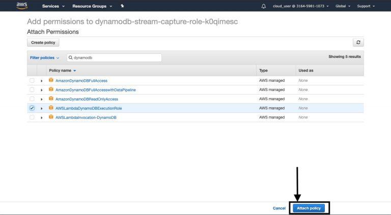 DynamoDB Stream Capture Role and Permissions