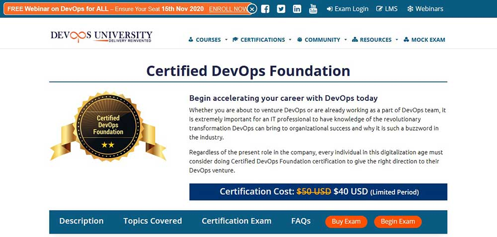 1.	Certified DevOps Foundation by DevOps University