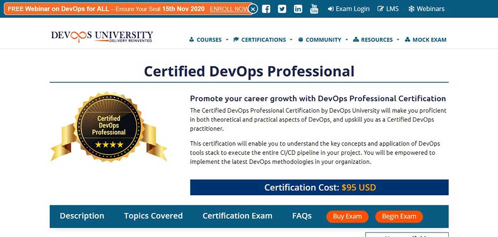 2.	Certified DevOps Professional by DevOps University