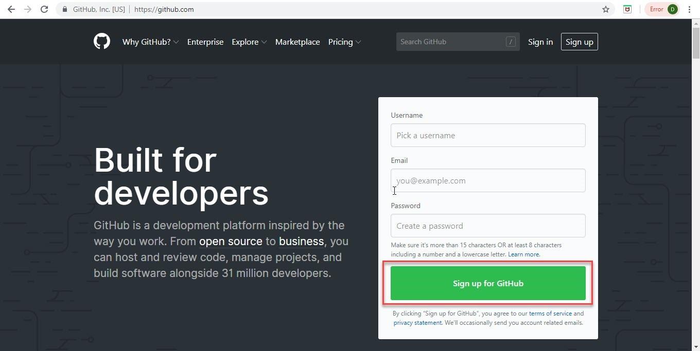 Create Account on GitHub Step-1